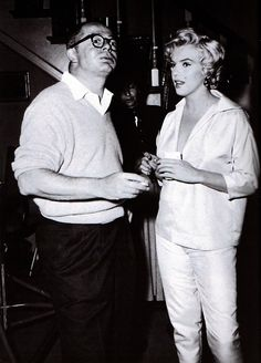 Billy Wilder and Marilyn behind the scenes of The Seven Year Itch in 1954.