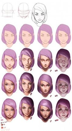 Spensa from skyward by Brandon Sanderson drawing tutorial but with purple hair - Wellington Garcia Garcia - Digital Painting Tutorials, Digital Art Tutorial, Art Tutorials, Digital Paintings, Drawing Tutorials, Sakimichan Tutorial, Sakimichan Art, Coloring Tutorial, 3d Drawings