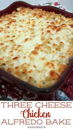 Three Cheese Chicken Alfredo Bake - great make-ahead pasta dish. Elbow macaroni, alfredo sauce, sour cream, ricotta, garlic, chicken, eggs, parmesan and mozzarella cheese. SO good!! We make this at least once a month! Can freeze half for later. This is THE BEST pasta casserole we've ever eaten!!! Chicken Alfredo Casserole, Pasta Casserole, Casserole Dishes, Casserole Recipes, Cordon Bleu Casserole, Chicken Alfredo Lasagna, Chicken Parmesan Casserole, Baked Chicken, Chicken Recipes