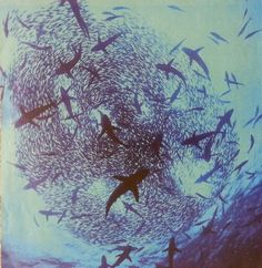 This mesmerizing photo captures the essence of swarming fish and sharks alike all contributing to an underwater network.