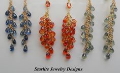 Briolette Sapphires in Solid Gold ~ Cornflower Blue, Vibrant Orange/Padparadscha and Mint Green ~ This years hot fashion colors by www.StarliteDesigns.com