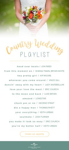 """Are your favorite country songs on our Country Wedding Playlist? Listen to our top songs for fall weddings here: <a href=""""http://smarturl.it/countrywedding"""" rel=""""nofollow"""" target=""""_blank"""">smarturl.it/...</a>"""