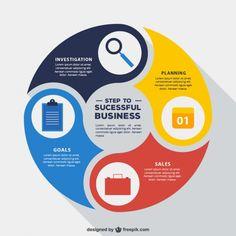 Arredondado negócio infográfico Vetor grátis