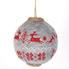 """Reindeer+Sweater+Ball+Christmas+Ornament+Size:+4""""+Material:+Styrofoam,+Knit+Color:+Red,+Grey+++++"""