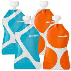 Squooshi Reusable Food Pouch | 4 Pack - G.O. Pattern | Refillable Squeeze Pouches for Kids of All Ages