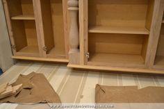 DIY Decorative Cabinet Feet For Stock Cabinets - Addicted 2 Decorating® Buffet Cabinet, Cabinet Decor, Cabinet Furniture, Furniture Decor, Refinish Kitchen Cabinets, Wood Cabinets, Cabinet Refinishing, Stock Cabinets, Upper Cabinets