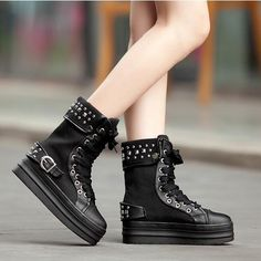 Women Punk Goth Creeper Platform Mid Calf Boots Lace Up Sneaker Casal Shoes Chic Funky Shoes, Flat Shoes, Wedge Shoes, Lace Flats, Europe Fashion, Platform Boots, Casual Boots, Mid Calf Boots, Shoe Collection