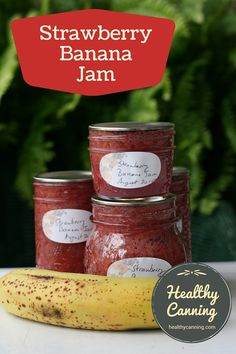 Strawberry-Banana Jam. Strawberry-Banana jam offers a delicious combination of these two fruits. #canning