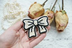 Bow brooch embroidered brooch seed bead brooch Bow Wow! Creamy