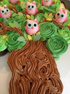 Cupcake cake with owl cakepops by sugartreebakeshoppe. No recipe, but very inspiring! SO CUTE!!!!! I am gonna do an owl cake instead of Mustache cake!