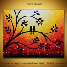 Love birds painting Original sunset art Canvas Yellow orange painting birds on tree orange sunset art Whimsical wall art Love valentine – Malerei Simple Canvas Paintings, Small Canvas Art, Mini Canvas Art, Mini Paintings, Easy Canvas Painting, Bird Painting Acrylic, Love Birds Painting, Orange Painting, Purple Canvas Art