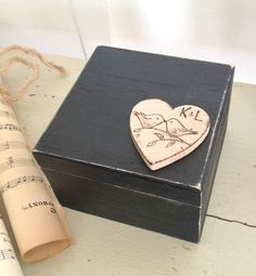 Personalized love birds ring bearer box with by AllLavenderandLove, $25.00