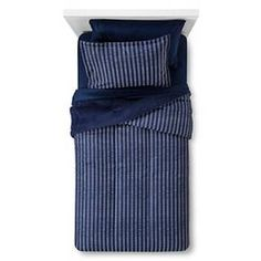 Bedding Set Reversible Printed Striped Navy
