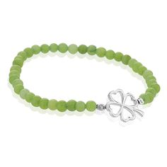 925 Sterling Silver (4) Leaf Clover Shamrock Lucky Green Beaded Four Stretch Bracelet ** Want to know more, click on the image.