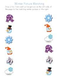 Winter Picture Matching Printable