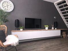 Accent Walls In Living Room, Ikea Living Room, Ikea Kitchen Cabinets, Tv Cabinets, Hack Sala, Ikea Tv, Ikea Hack, Tv Stand Designs, Tv Furniture