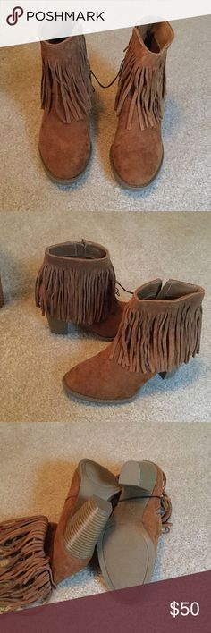 Mossimo Supply Fringed Boots NWOT New never worn, zipper up the inside of each boot.  3 inch heels.  Leather upper and textile, made in China. Cushioned insoles. Mossimo Supply Co Shoes Heeled Boots