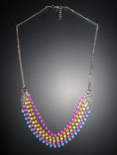 Multicolored Neon Necklace by StylishlyHandmade on Etsy, $25.00