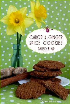 AIP Carob and Ginger Spice Cookies! They snap and crumble and they're full flavoured. Carob provides depth, ginger excitement, and the cinnamon and cloves a touch of homeliness and comfort. They're egg free, dairy free, gluten free and fully Paleo AIP.