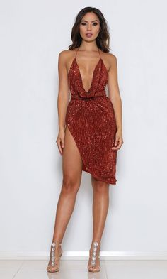 c140e9970de9b High Speed Coral Red Sequin Sleeveless Spaghetti Strap Backless Halter Cowl  Neck Mini Dress - Sold Out