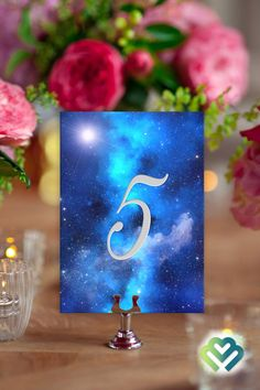 Starry Night Wedding Table Numbers 1-10 Galaxy Wedding Decor Banquet Table Numbers Printable Table Numbers Event Table Numbers Party Table