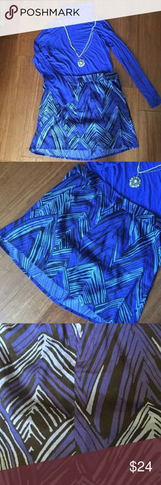 "GAP blue & black skirt NWT GAP blue & black mini skirt. Has hip pockets and front zip plus button closure. Length 16.5"", waist 19.5"". 100% polyester Gap Skirts Mini"
