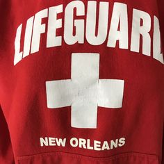 Adult Red Lifeguard Products New Orleans Beach Pullover Hoodie Size Small  | eBay