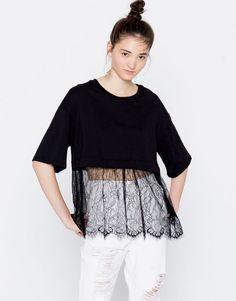 T-shirt dentelle dans le bas - Favoris des soldes - Vêtements - Femme - PULL&BEAR France