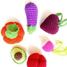 Set of crochet organic toys choose and order any toddler activity pretend food play doll food natural baby teether toys
