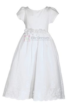 A Refreshing Cotton Breeze...  100% cotton (inner lining is synthetic fabric) French eyelet embroidered all over the skirt (vine and floral design) Tea length Choose from White or Ivory Size 4 Ivory Only Left   Sizes: 2-12   Size Chart