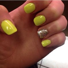 Yellow and silver nails !!