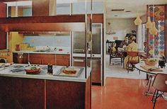 Kitchen Mod Dining Room Modern Vintage Interior Design Photo by Christian Montone 1960s Kitchen, Mid Century Modern Kitchen, Mid Century Modern Design, Vintage Kitchen, Retro Kitchens, Modern Kitchens, 1960s Interior Design, Mid-century Interior, Interior Design Photos