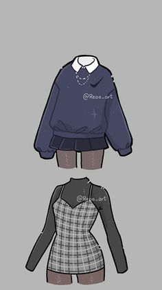 Indie Outfits, Teen Fashion Outfits, Cute Casual Outfits, Retro Outfits, Fashion Art, Manga Clothes, Drawing Anime Clothes, Kawaii Clothes, Fashion Design Drawings