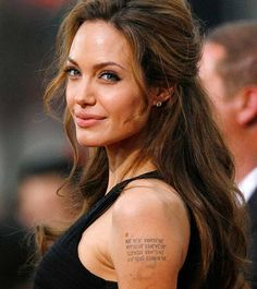 Angelina Jolie is known have gotten many tattoos and also to have removed a few to get a few more. So, in this post we have best Angelina Jolie tattoos. Daily Hairstyles, Older Women Hairstyles, Hairstyles With Bangs, Hairstyle Ideas, Pretty Hairstyles, Simple Hairstyles, Updo Hairstyle, Straight Hairstyles, Celebrity Long Hair