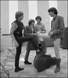 """""""The Monkees during their first recording sessions at RCA Studios in Hollywood, June 10, 1966 (Photo courtesy of monkees.com)"""" -- monkeesconcerts.com #FirstRecordings"""
