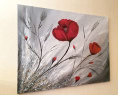 """""""Coquelicots """" toile contemporaine en peinture acrylique 60 x 80 cm sur ma boutique: http://www.alittlemarket.com/boutique/peinture_crea-276258.html"""