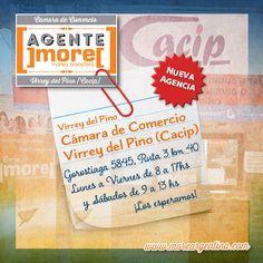 [Nuevo #Agente]more[ #VirreyDelPino ✹ Cámara de Comercio Virrey del Pino (CACIP) ⇉ Enviá tus #Giros en Gorostiaga 5845, Ruta 3 km 40. Lunes a Viernes de 8 a 17 hs y Sábados de 9 a 13 hs. ¡Los esperamos! ]more[ www.moreargentina.com