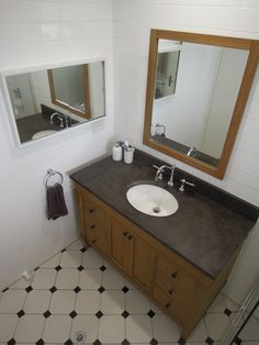 White Octagon and Black Dot Black Dots, Double Vanity, Tiles, House Ideas, Mirror, Bathroom, Furniture, Home Decor, Room Tiles