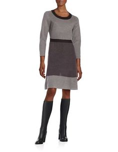 Tommy Hilfiger Ribbed Colorblocked Sweater Dress Women's Grey/Black La