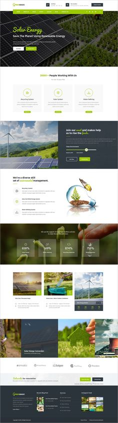 Green Magic is a wonderful environmental #Photoshop #Template suitable for all types of go #green business website with 2 homepage layouts and 16 organized PSD pages download now➯ https://themeforest.net/item/green-magic-environmental-psd-template/17057400?ref=Datasata