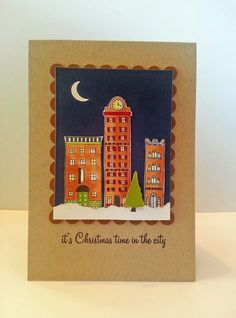 Christmas in the City!  Fabulous card designed by a|s Creative Consultant, Marisa Alvarez.  #amusestudio #christmascard #cardmaking