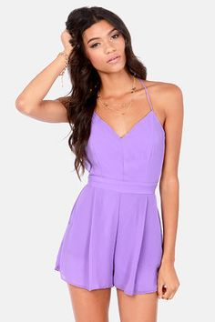 Sealed With a Kiss Backless Lavender Romper at LuLus.com!