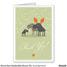 Cute Moose Deer Family Baby Shower Thank You Note Card - Matching Baby Shower Invitation and Words of Advice for Mommy Postcard Cards are also available on original link