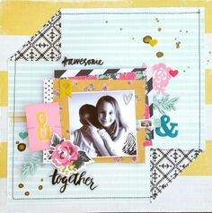 #awesome together layout by Amanda Baldwin for Imaginarium Designs chipboard featuring Crate Paper Confetti & Shine collections