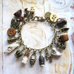 Everything But - Handmade Oxidized Brass Vintage Charm Bohemian Gypsy Bracelet
