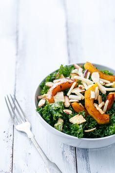 Crisp Kale Salad with Cider-Roasted Squash & Apple Cider Vinaigrette ...