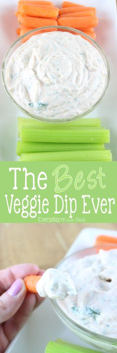 Looking for the perfect dip for that bag of carrots sticks or cut celery? I've got the answer for you with The Best Veggie Dip Ever! It's perfect for carrots, celery, strips of bell pepper, and even plain potato chips! | EverydayMadeFresh.com http://www.everydaymadefresh.com/best-veggie-dip-ever/