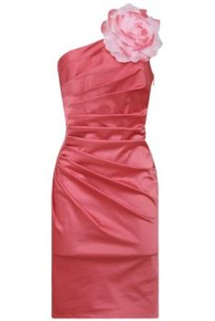 Goddess London Designer Coral One Shoulder Large Flower Corsage Womens Ladies Ruched Pleated Bodycon Evening Mini Prom Party Cocktail Clubwear Wiggle Pencil Shift Dress UK Size 8-14