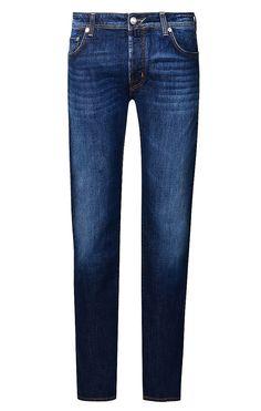 Aus Baumwolle und Elasthan gefertigte Herren-Jeans von Jacob Cohen in Marine. Modell PW688 Comfort, mit Logo-Label aus echtem Ponyfell, seitlichen Eingriffstaschen und Gesäßtaschen. Handmade!