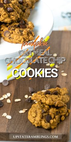 Pumpkin Oatmeal Chocolate Chip cookies are a seasonal twist on my family's favorite chocolate chip cookies. Semi sweet or dark chocolate chips combine with pumpkin and oatmeal. These cookies are soft and rich for a delicious fall treat, perfect for Thanksgiving or Christmas!